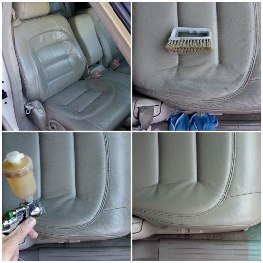 Leder neu färben am Cadillac Sitz