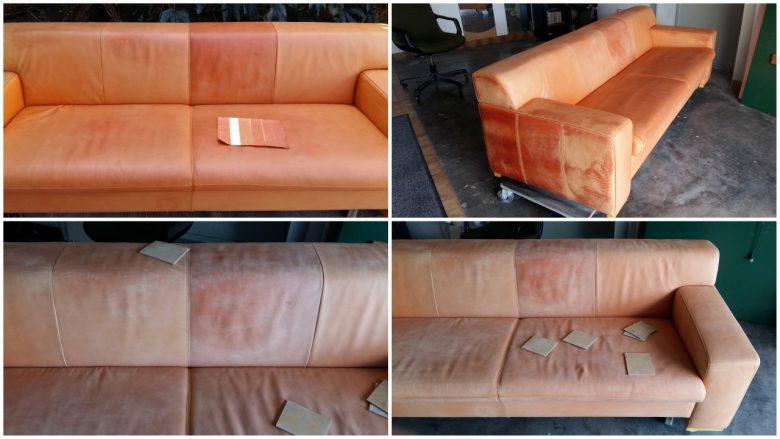 das Leder wird geschliffen und zum Färben vorbereitet