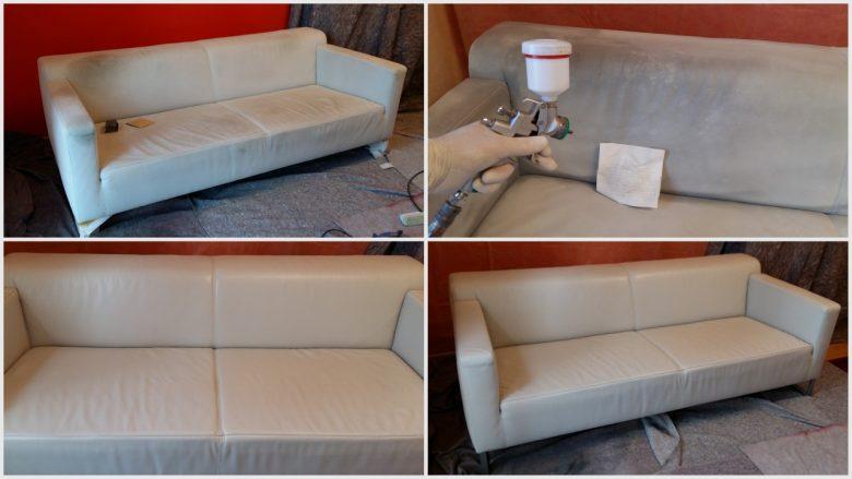 helle Aniline Leder Couch aufbereiten