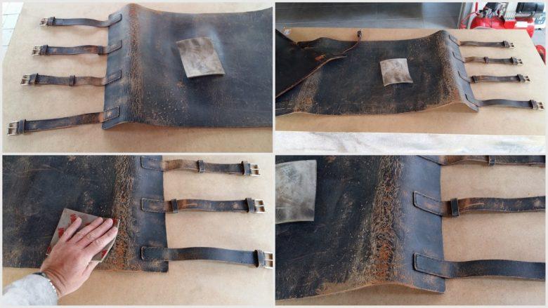 das Leder eines alten Safari Stuhls