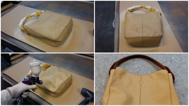 eine Damen Handtasche ist abgenützt und wird neu gefärbt