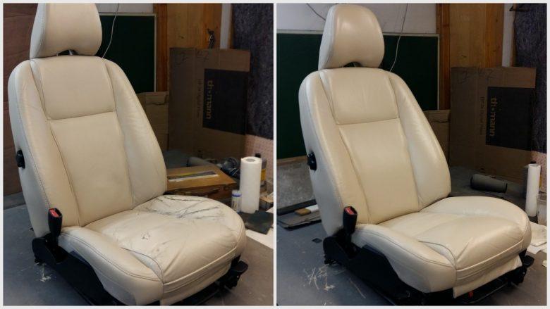der Volvo XC 90 Sitz vor & nach der Aufbereitung
