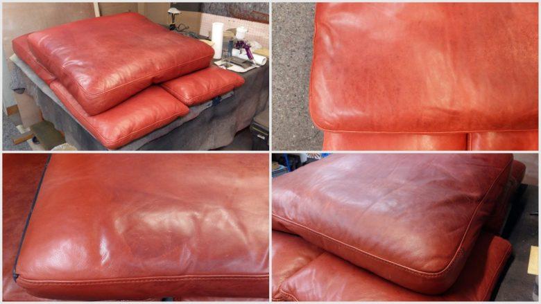 rotes Aniline Leder ist schmutzig und fleckig geworden