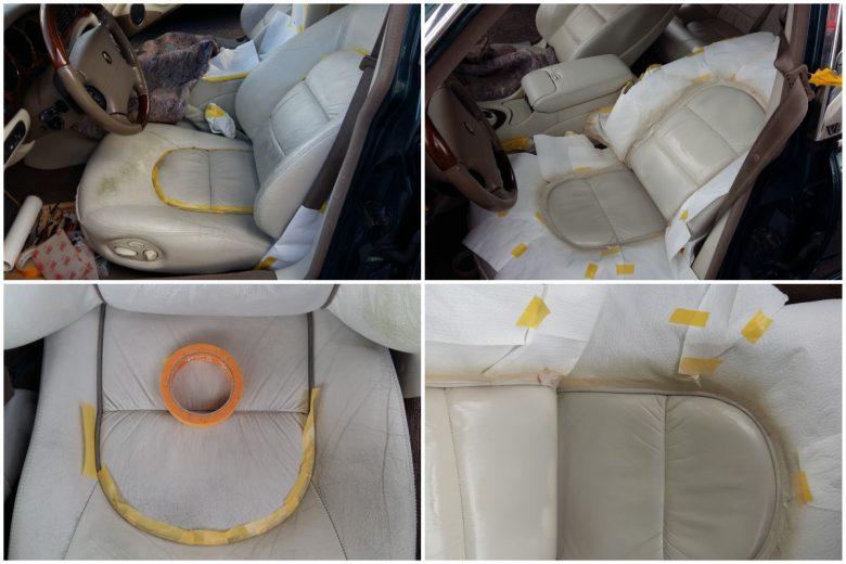 ein Jaguar Fahrersitz ist verschmutzt und abgewetzt