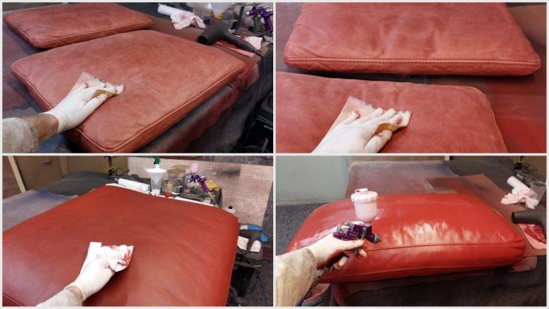 das Leder wird entfettet, geschliffen und neu gefärbt