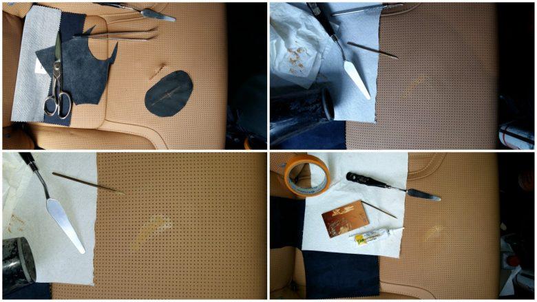 der Riss im Leder wird geklebt, verfüllt und nach gefärbt