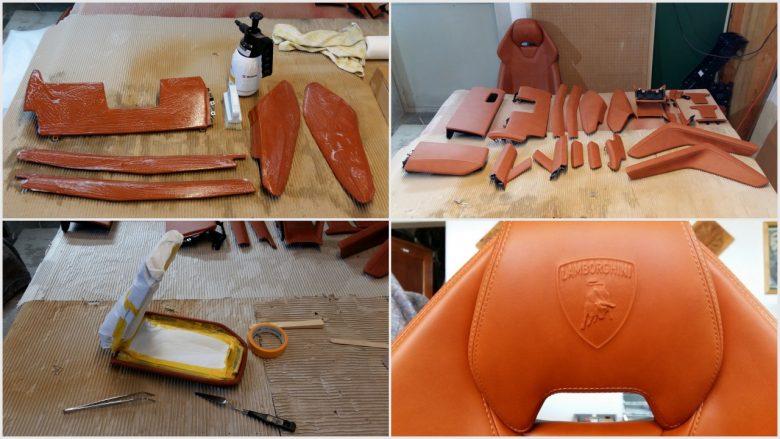 das Leder wird gereinigt und zum Umfärben vorbereitet