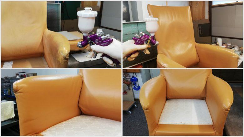 der gesamte Sessel wird neu gefärbt