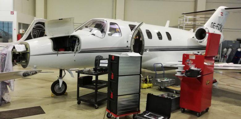 Lederaufbereitung an einem Citation Jet