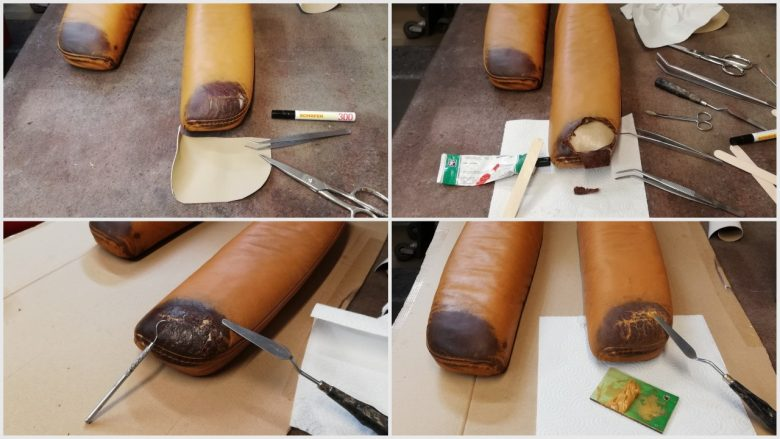 das schadhafte Leder wird verstärkt