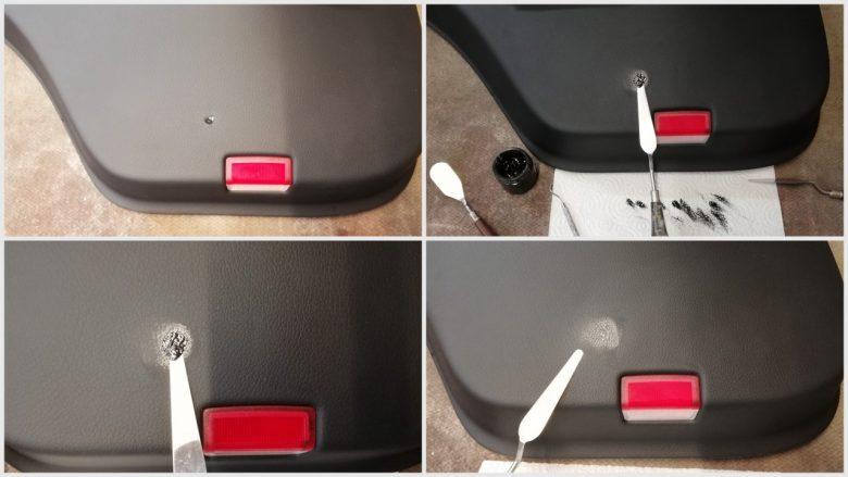 ein Loch in der Türverkleidung wird repariert