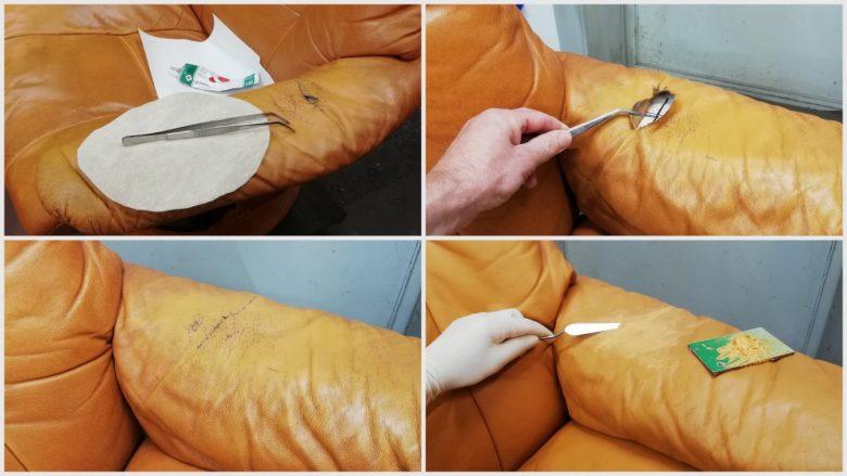 das gerissene Leder wird repariert und verstärkt