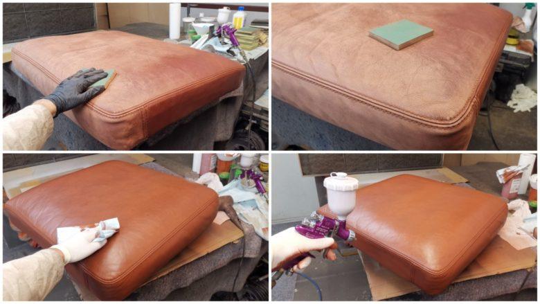 das Leder wird gereinigt, geschliffen und neu gefärbt