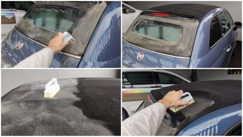 Reinigung eines Fiat 500 Verdecks