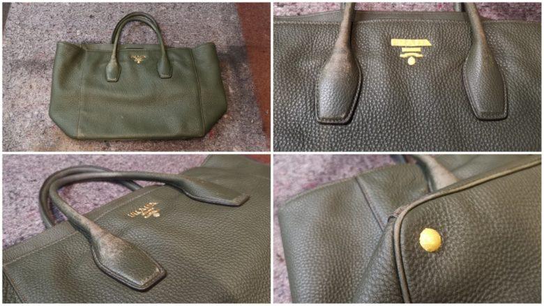 eine Prada Handtasche ist abgenutzt