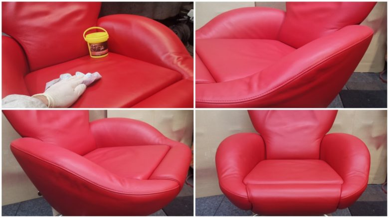 Leder neu einfetten und der Sessel ist fertig