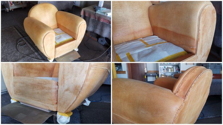 ein verblichener Aniline Leder Sessel