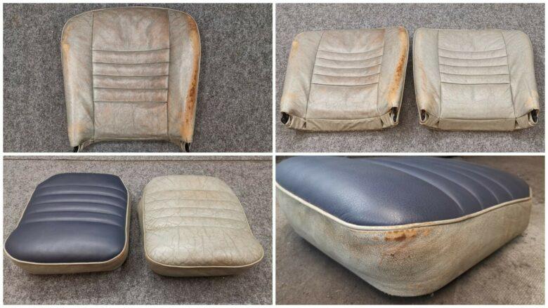 das Leder eines Oldtimers, teilsweise erneuert