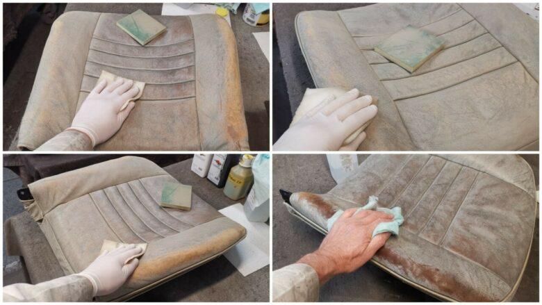 Leder reinigen, schleifen und entfetten